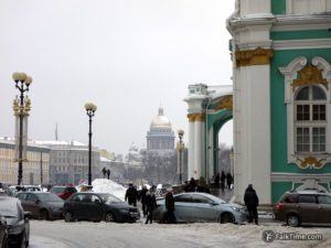 Palace square in winter & snow