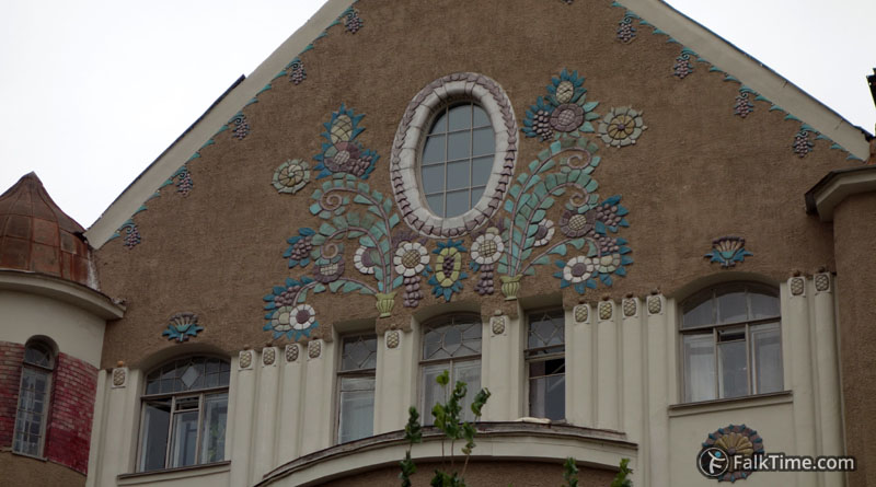 Majolica at facade of Zakharov revenue house